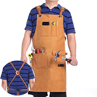 MSSOHKAN Luxury Waxed Canvas Shop Apron for Men & Women.Safety apron Woodworking Aprons Heavy Duty Work Apron with Pockets. Big Bulk Tool Apron with Adjustable Cross-Back Strap.(Brown)