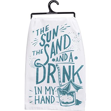 Primitives by Kathy 35662 LOL Made You Smile Dish Towel, 28 , Drink in Hand