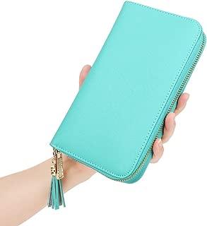 Women's RFID Blocking 30 Slots Card Holder Large Long Zipper Checkbook Accordion Wallet
