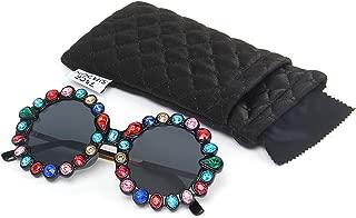 Rhinestone Oversized Sunglasses Fashion Round Thick Plastic Metal Frame Retro Bling Diamond Sun glasses for Women