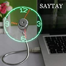 USB LED Clock Fan, SAYTAY Mobile USB Fan Portable Cooling Mini USB Quiet Gooseneck Fan for Office, Home & Travel (Clock)
