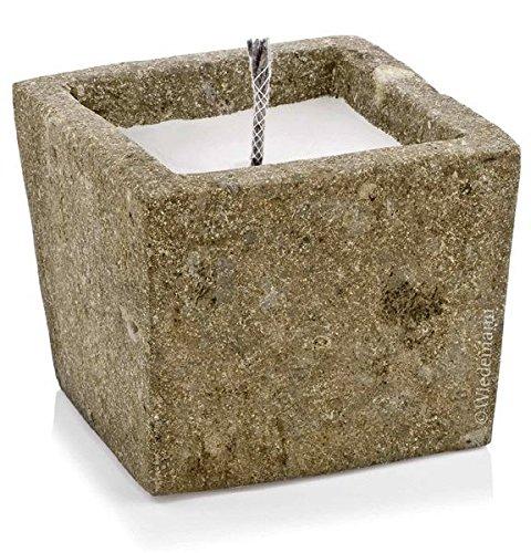 Lava olla cuadrada con antorcha mecha, piedra volcánica recipiente co
