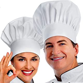 Chef Hat, 2PCS Adult Premium Adjustable Elastic Baker Kitchen Cooking Chef Cap, White