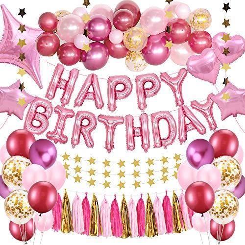 SPECOOL Geburtstagsdeko Mädchen,Rosa Happy Birthday Banner Set mit Metallic Rose Rot Balloons Latex Konfetti Luftballons Partydekoration Geburtstag deko Set für Mädchen Freundin Frauen