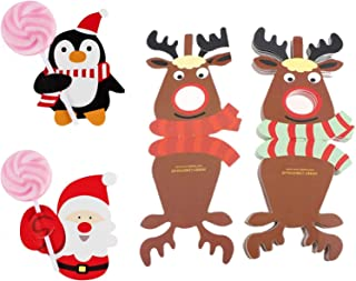 150PCS Christmas Lollipop Cards Santa Claus Penguin Sugar-Loaf Candy Holder Gift Box Decor for Xmas and Birthday Party (Not included Lollipop) (Santa Claus Penguin Elk)