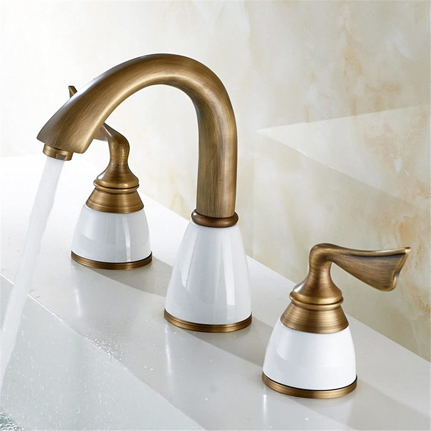 ETERNAL QUALITY Bathroom Sink Basin Tap Brass Mixer Tap Washroom Mixer Faucet Antique copper basin-wide three-piece faucet three hole split faucet hot and cold-water fauc