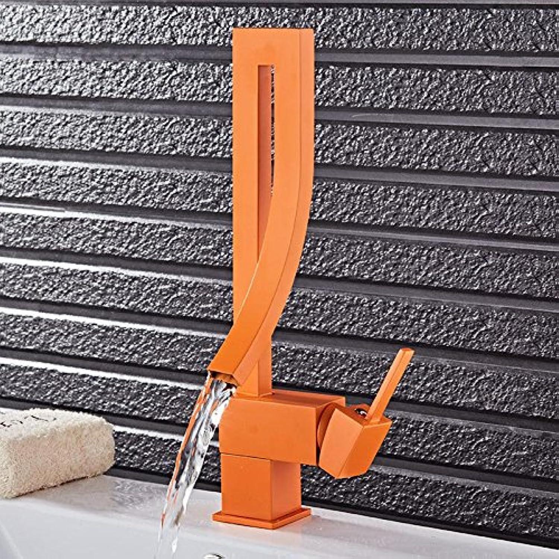 CZOOR Waschbecken Mischer-Hahn-Orange Farbe Wasserhahn Einhand-Wasserfall-Bassin-Mischer-Hahn-heie und kalte Badezimmer-Hahn-Rotation und Einlocharmatur 9060