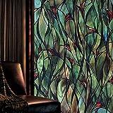 Película de Ventana de orquídea Colorida Película de vidrieras Película Decorativa de Puerta y Ventana antiestática 3D sin Pegamento K 40x100cm