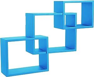 WOLTU Wandregal Bücherregal Hängeregal Regal Büroregal Holz CD Buch blau 9220