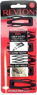 Revlon Rubberized Double Grip Black Hair Clips, 6 count