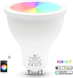 Wireless ZigBee Hue Bulb 5W GU10 RGB CCT LED Smart Bulb Spotlight Bulb Dimmable APP Control Compatible with Amazon Echo Plus Echo Show Alexa SmartThings Lightify etc (GU10 Bean Angle 120°)
