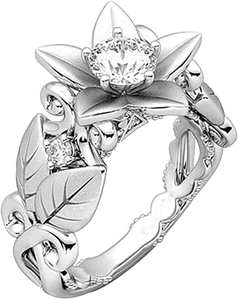 Haluoo Flower Finger Ring for Women Lucky Floral Leaf Design Band Ring Diamond Engagement Ring Sterling Silver Cz Jewelry Gift Rings