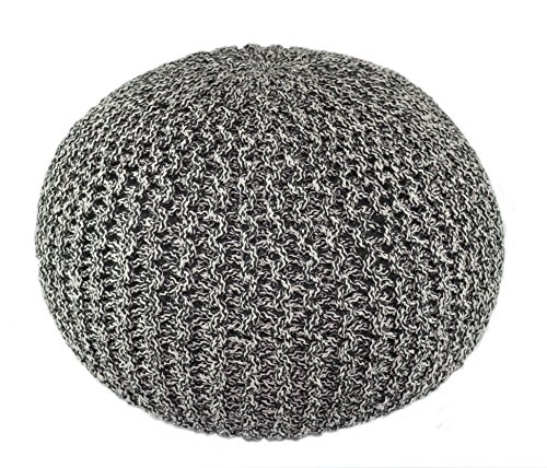 COTTON CRAFT - Hand Knitted Cable Style Tweed Dori Pouf - Charcoal/Black - Floor...