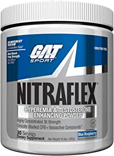 GAT - NITRAFLEX - Testosterone Boosting Powder, Increases Blood Flow, Boosts Strength and Energy, Improves Exercise Performance, Creatine-Free (Blue Raspberry, 30 Servings), 10.6 Ounce (Pack of 1)