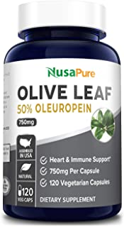 Olive Leaf Extract (Non-GMO & Gluten Free) 750 mg - 50% Oleuropein - Vegetarian - Super Strength - Immune Support, Cardiovascular Health & Antioxidant Supplement - No Oil - 120 Capsules