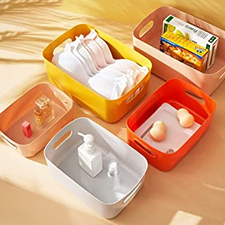 Paniers de rangement en plastique, plusieurs couleurs, organiseur de bureau, boîte de rangement pour la maison