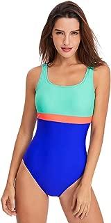 FEOYA Women One Piece Swimsuits Athletic Racing Training Sports Bathing Suit Color Block Swimwear