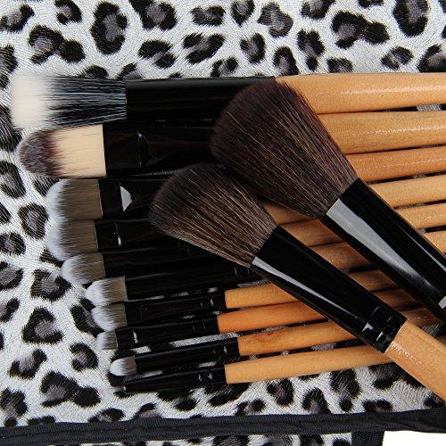 Beauty7 Lots de 12 Pièces Brosses Maquillage Luxe Poignées En Bois Avec Pochette De Léopard Etui