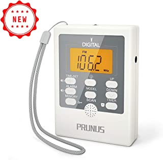 J-157 Portable Pocket AM/FM Radio, Mini Alarm Clock Radio with Sleep Timer, Time, Speaker, LED Flashlight SOS for Emergency, 2 AAA Battery Operated(Not Included), by PRUNUS