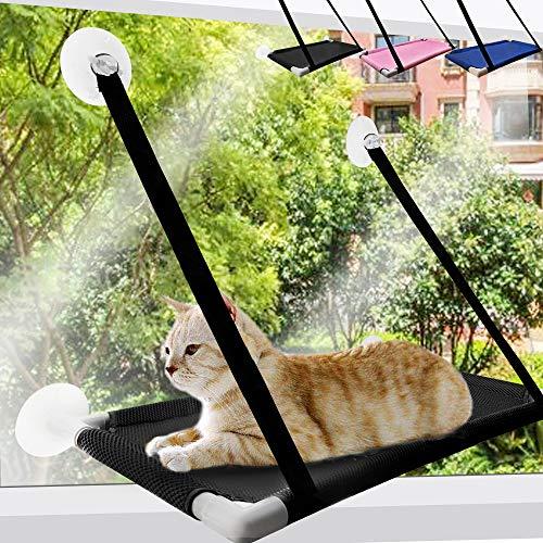 SKRTUAN Fenster Katzenhängematte, Katzen Fensterplätze,Katzen Zubehör,Katzenbett 60x35cm für Katzen stabile Katzenliege Fenster Platz