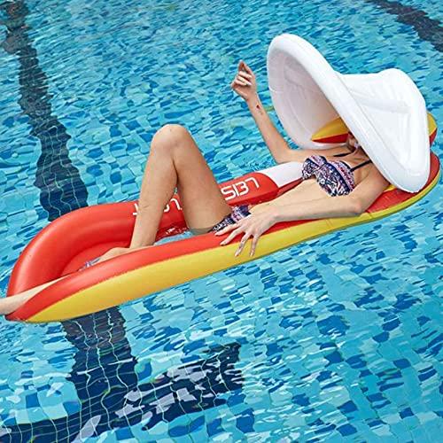 Pool Hammock Inflable Fila Flotante Juguete De Agua con Toldo Extraíble, Piscina Tumbona Flotador Hamaca Hamaca Inflables Balsas Flotantes Cama De La Cama Flotante,Rojo