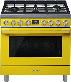 Smeg Portofino CPF36UGMYW 36''x 25'', 4.5 cu. ft. Freestanding Pro-Style Dual Fuel Range, Yellow