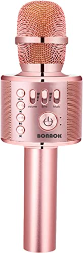 BONAOK Karaoke Microphone Bluetooth Wireless, Portable Karaoke Machine Mic Speaker for Kids and Adults Home Party Bir...