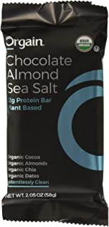 ORGAIN Organic Chocolate Almond Sea Salt Protein Bars 12ct, 2.05 OZ