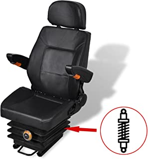 vidaXL Tractor Seat Spring Suspension + Slide Track Compact Mower Seating w/Backrest
