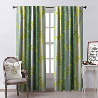 GloriaJohnson Striped Wear-Resistant Color Curtain Mimosa Spring Flower Leaves on Striped Back March Blossoms Feminine Design Art Waterproof Fabric W52 x L54 Inch Yellow Green