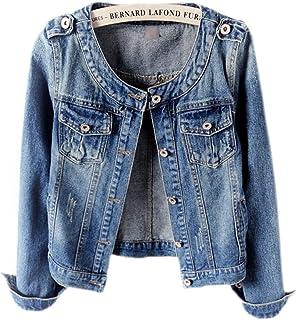 Ewindy Denim Jackets Women Retro Collarless Long Sleeve Short Crop Jeans Coat