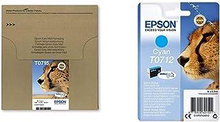 Epson Original T0715 Tinte Gepard, wisch  und wasserfeste (Multipack, 4 farbig) (CYMK) & Original T0712 Tinte Gepard, wisch  und wasserfeste (Singlepack) Cyan