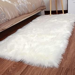 XingMart Sheepskin Faux Fur Rugs Luxury Fluffy Floor Carpet for Bedroom Bedside Living Room Area Rug Baby Nursery Room Decor Rug, Rectangle 2.3 x 5 ft, White