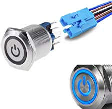 WerFamily Power Symbol 12V Blue LED 22mm Latching Push Button Switch 1NO 1NC SPDT ON/Off Waterproof Stainless Steel Metal ...