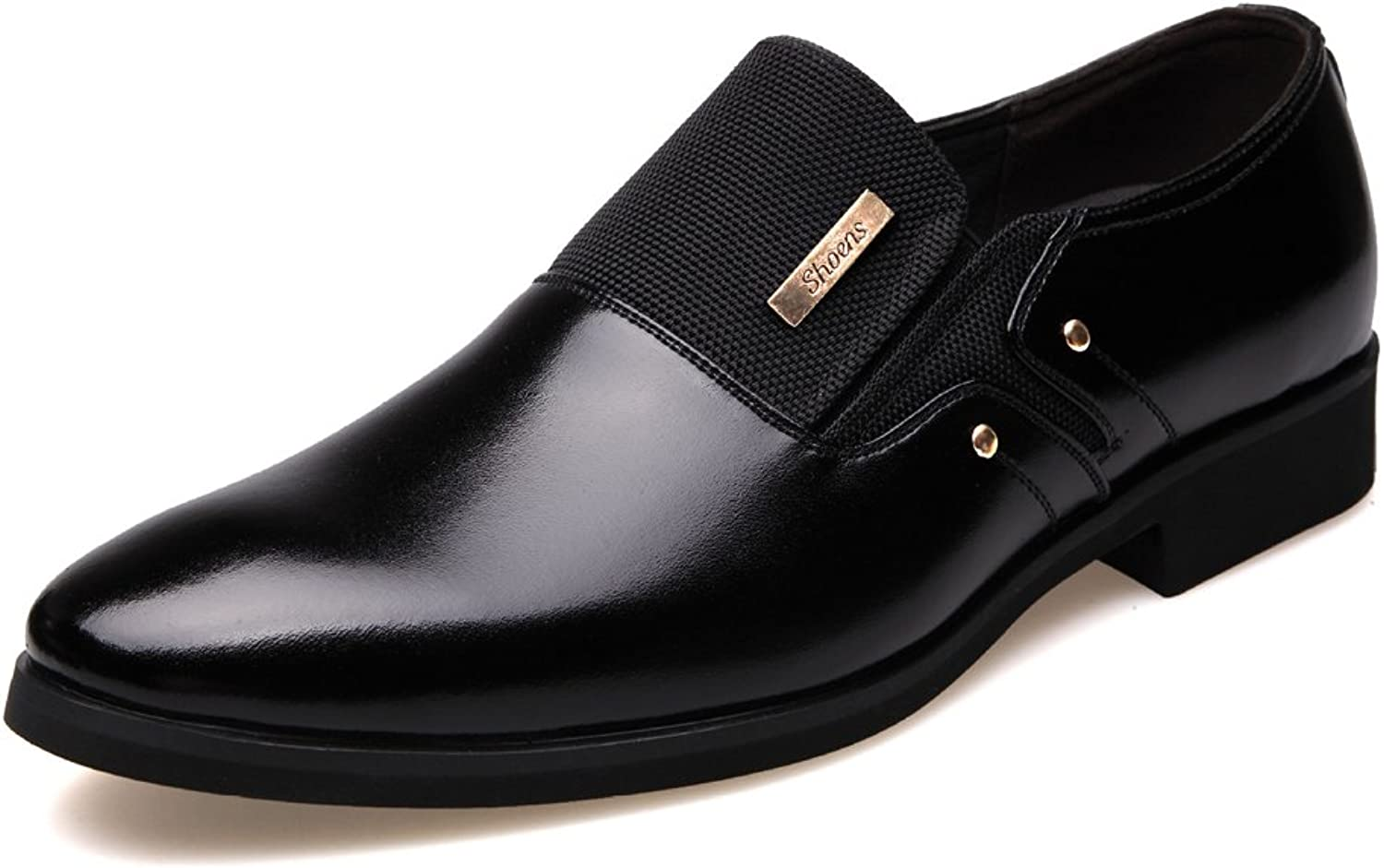 XIANGBAO-Personality Fashion Men's Business shoes Matte PU Leather & Canvas Splice Slip-on Breathable Lined Oxfords(Lace-up Optional)