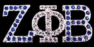 Zeta Phi Beta Sorority Swarovski Crystal Pin in Silver
