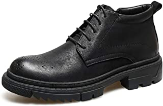 QinMei Zhou Ankle Boots for Men Casual Shoes Round Toe Lace up with Zipper Microfiber Leather Brogue Carve High Top Solid Colour Thick Heel (Color : Black, Size : 5.5 UK)