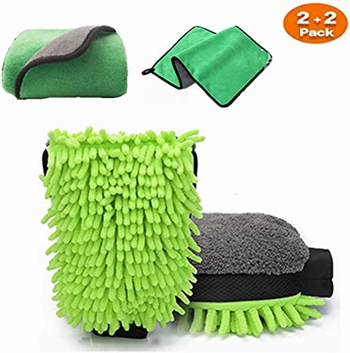 high quality Car Wash Mitt, XINDELL Microfiber Scratch Free Auto Detailing Wash Mitt 2Pack Premium Wash Glove and discount 2Pack Car Microfiber Drying Towels online - Lint Free(2 Towels + 2 Mitts) online sale
