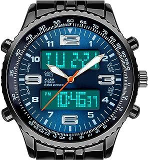Men's LED Analog Digital Date Week Sports Outdoor Steel Blue Dial Watch
