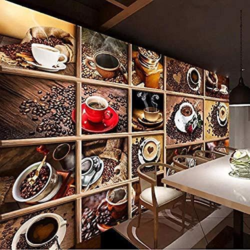 Fototapete Kaffeebohnen Kaffeetasse 3D Fototapete Cafe Restaurant Wohnzimmer Küche Fototapete Kaffee_460cm(W) x280cm(H)