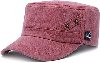 ChezAbbey Fashionable Solid Brim Cadet Style Hat Adjustable Flat Top Cap Visor