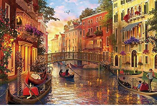 FDDPT Puzzle 1000 Piezas Ciudad del Agua de Venecia Rompecabezas de Madera para Adultos Juego Familiar 75x50cm
