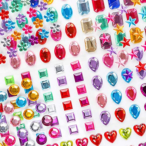 Holicolor 390pcs Rhinestones Stickers Self-Adhesive Muticolor Adhesive Jewels Stickers Crystal Gems Flatback Rhinestone for Crafts, Assorted Size