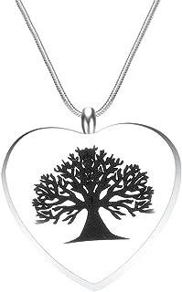 Tree of Life Heart Cremation Jewelry Urn Locket Pendant-Stainless Steel Memorial-Ash Keepsake Pendant Necklace