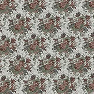 Designer Fabrics F926 54 in. Wide Burgundy44; Green And Ivory44; Floral Tapestry Upholstery Fabric