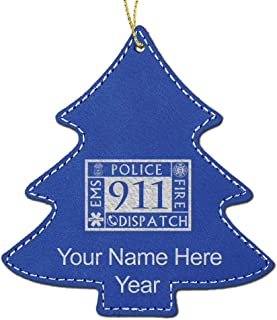 LaserGram Faux Leather Christmas Ornament, Emergency Dispatcher 911, Personalized Engraving Included (Dark Blue, Tree)