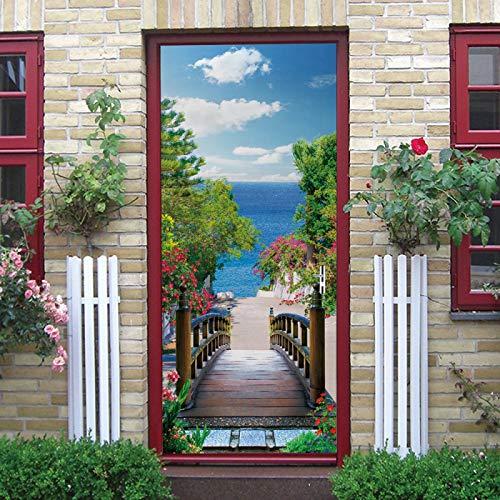TMANQ Door Mural 3D Green Trees Bridge Sea View Door Wallpaper 77X200Cm Removable Self-Adhesive Door Decal Door Art Door Wall Stickers Mural Wallpaper Diy Office Home Decor Poster Decoration, Vinyl