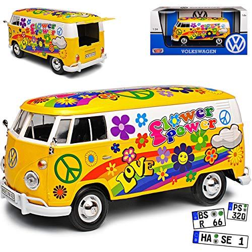 Motormax Volkwagen T1 Flower Power Gelb Love and Peace Blumen 1950-1967 1/24 Modell Auto mit individiuellem Wunschkennzeichen