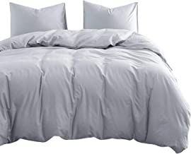 Light Grey Cotton Quilt Cover Set - by Wake In Cloud, 100% Cotton Doona Cover Bedding Set in Solid Plain Color Light Gray ...