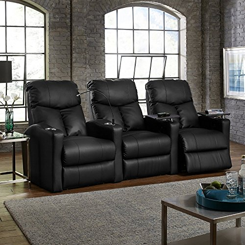 Octane Seating Octane Bolt XS400 Motorized Leather Home Theater Recliner Set (Row of 3)